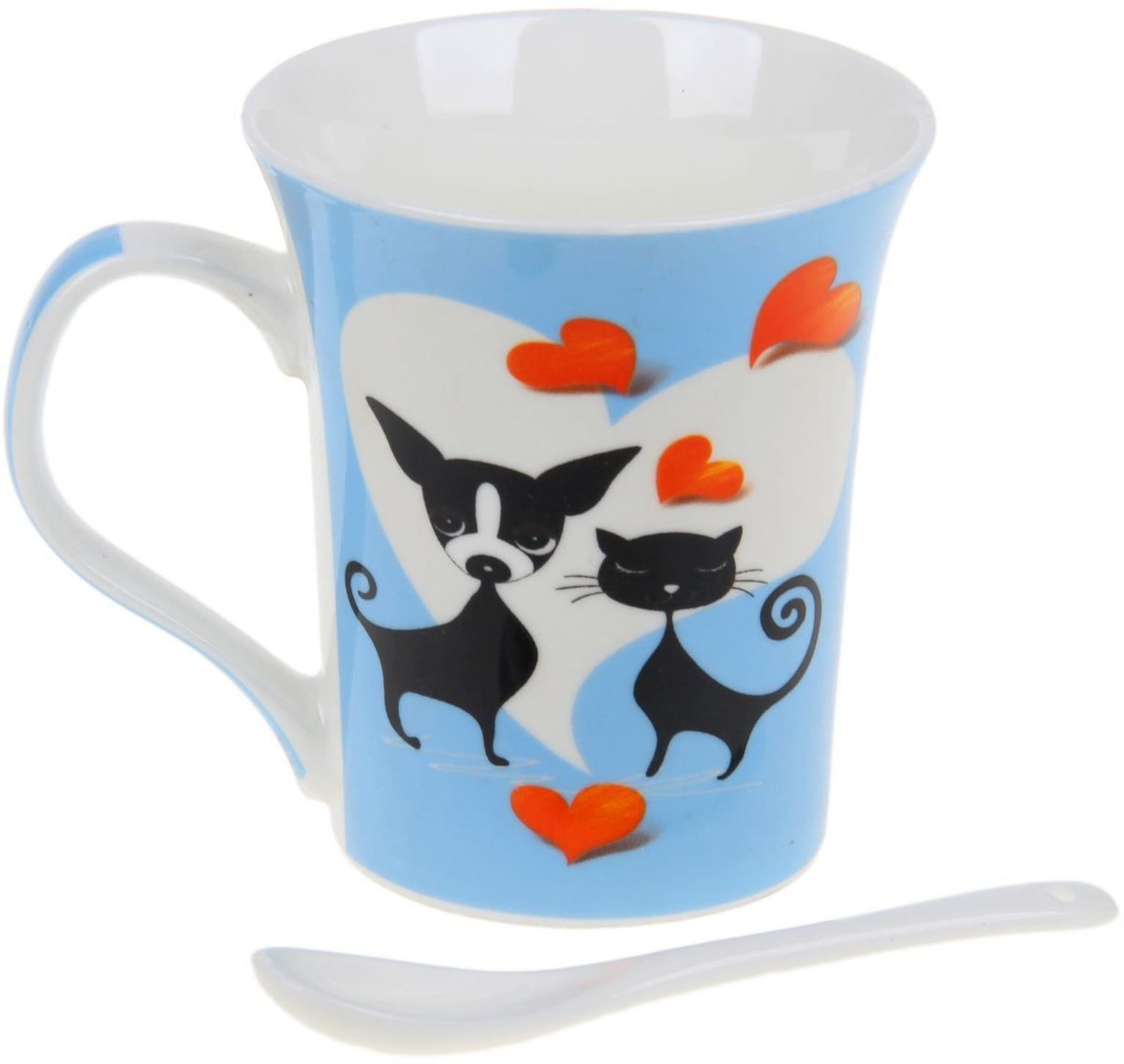 Кружка Доляна Кот и пес, с ложкой, цвет: голубой, 300 мл кружка доляна радуга цвет желтый белый 300 мл