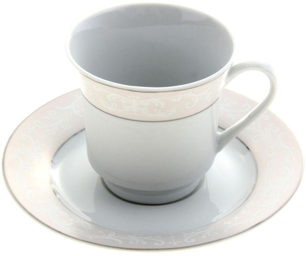 Чайная пара Доляна Миледи836477Чайная пара Доляна Миледи состоит из чашки и блюдца, выполненных из глазурованной керамики. Изделия украшены изысканным орнаментом. Посуда отличается белизной и прочностью, она неприхотлива и не требует особых условий хранения. Набор сочетает в себе бытовую практичность и декоративную утонченность. Подходит для повседневного использования.