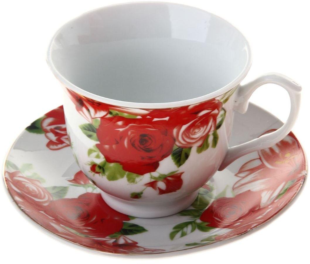 Чайная пара Доляна Белла, 2 предмета836490Какую посуду выбрать для чаепития? Конечно, традиционный напиток по необходимости можно пить и из помятой алюминиевой кружки. Но все-таки большинство хозяек стараются приобрести изящные и оригинальные модели для эстетического наслаждения неповторимым вкусом и тонким ароматом хорошего чая.Кухонная керамика сочетает в себе бытовую практичность и декоративную утонченность. Нарядный комплект обязательных для чаепития атрибутов изготовлен на родине древнего напитка и привнесет в каждую трапезу особую энергетику.