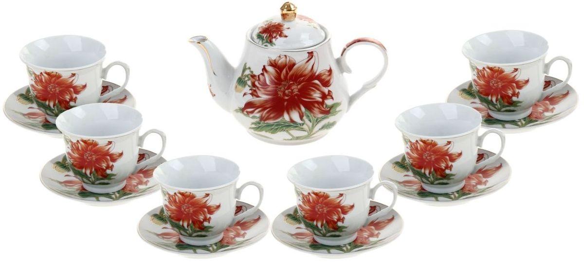 Набор чайный Доляна Ева, 13 предметов836501Какую посуду выбрать для чаепития? Конечно, традиционный напиток по необходимости можно пить и из помятой алюминиевой кружки. Но все-таки большинство хозяек стараются приобрести изящные и оригинальные модели для эстетического наслаждения неповторимым вкусом и тонким ароматом хорошего чая.Кухонная керамика сочетает в себе бытовую практичность и декоративную утонченность. Нарядный комплект обязательных для чаепития атрибутов изготовлен на родине древнего напитка и привнесет в каждую трапезу особую энергетику.