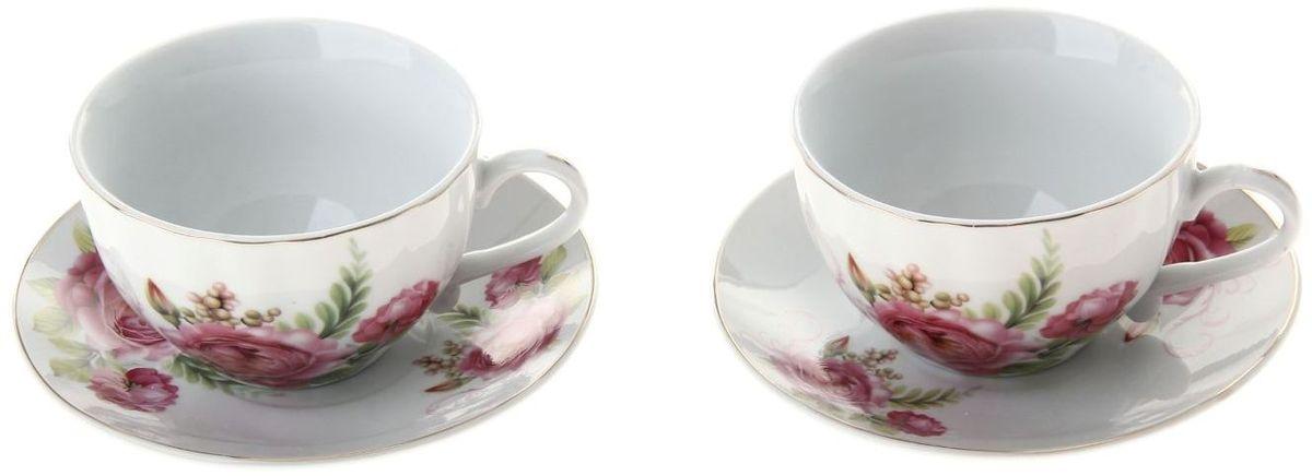 Набор чайный Доляна Эстель, 4 предмета836539Какую посуду выбрать для чаепития? Конечно, традиционный напиток по необходимости можно пить и из помятой алюминиевой кружки. Но все-таки большинство хозяек стараются приобрести изящные и оригинальные модели для эстетического наслаждения неповторимым вкусом и тонким ароматом хорошего чая.Кухонная керамика сочетает в себе бытовую практичность и декоративную утонченность. Нарядный комплект обязательных для чаепития атрибутов изготовлен на родине древнего напитка и привнесет в каждую трапезу особую энергетику.