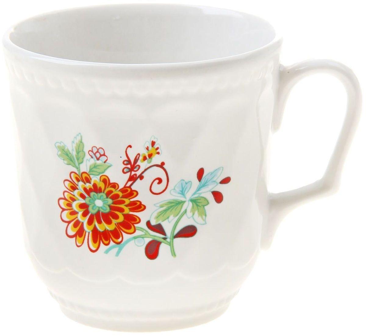 """Кружка Доляна """"Оранжевый цветок"""" изготовлена из высококачественной керамики. Изделие оформлено красочным рисунком и покрыто превосходной сверкающей глазурью.  Изысканная кружка прекрасно оформит стол к чаепитию и станет его неизменным атрибутом."""