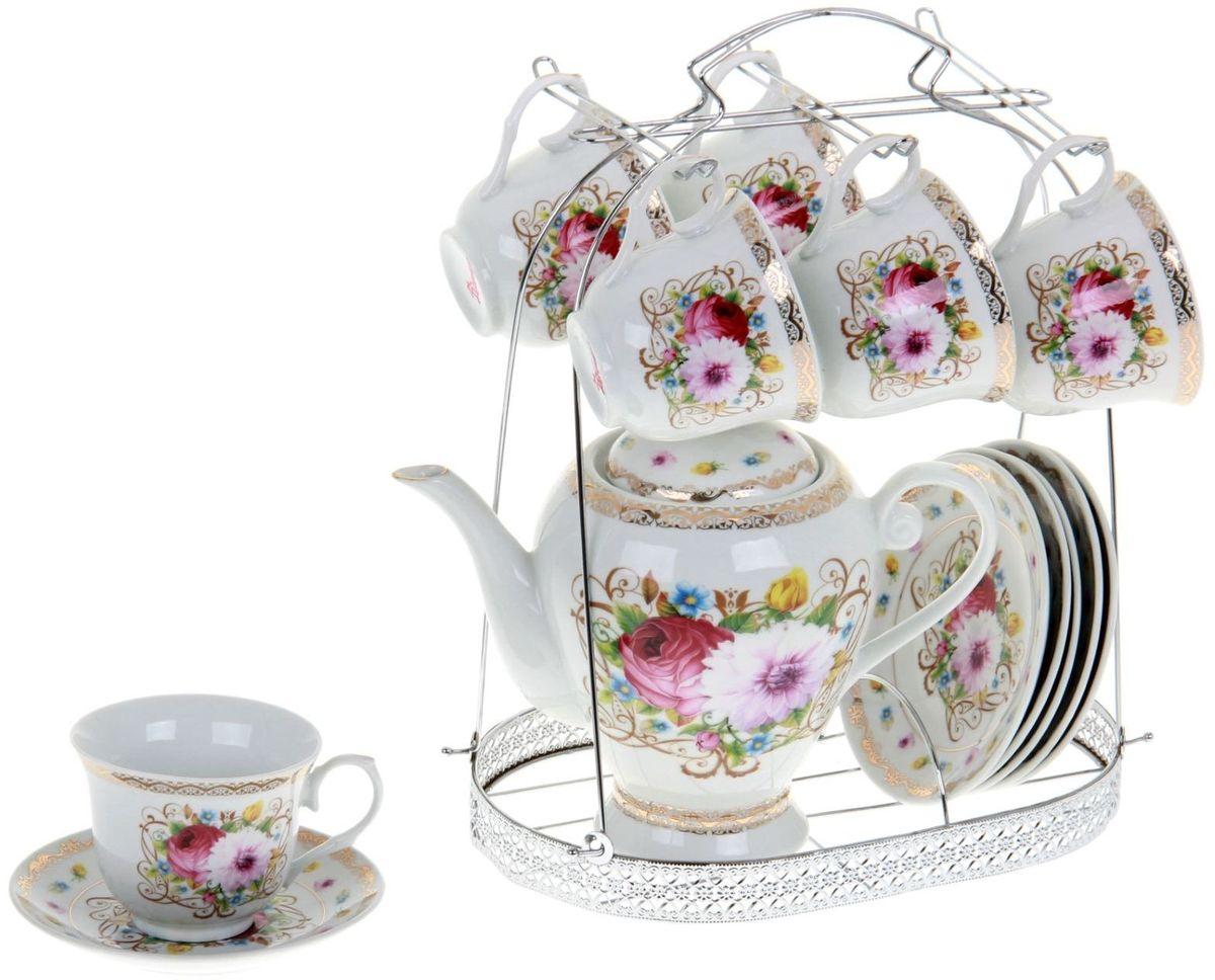 Сервиз чайный Доляна Августина, 13 предметов867792Какую посуду выбрать для чаепития? Конечно, традиционный напиток по необходимости можно пить и из помятой алюминиевой кружки. Но все-таки большинство хозяек стараются приобрести изящные и оригинальные модели для эстетического наслаждения неповторимым вкусом и тонким ароматом хорошего чая.Кухонная керамика сочетает в себе бытовую практичность и декоративную утонченность. Нарядный комплект обязательных для чаепития атрибутов изготовлен на родине древнего напитка и привнесет в каждую трапезу особую энергетику.
