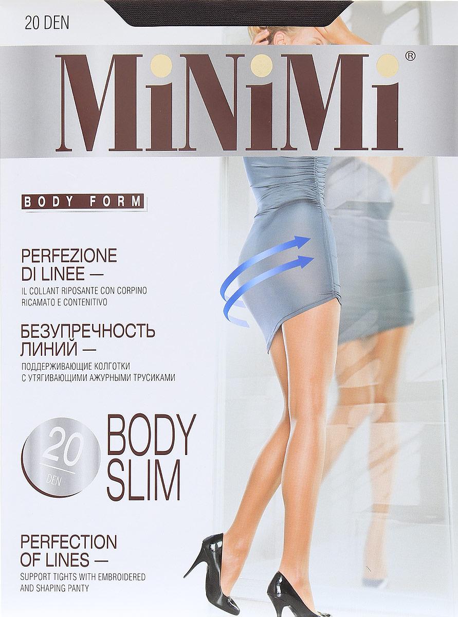 Колготки Minimi Body Slim 20, цвет: Fumo (коричневый). Размер 2BODY SLIM 20Тонкие эластичные колготки от Minimi с утягивающими ажурными трусиками, моделирующими фигуру, гигиеничной ластовицей, с плоским швом и невидимым усиленным мыском. Формованная ступня.Плотность 70 DEN.