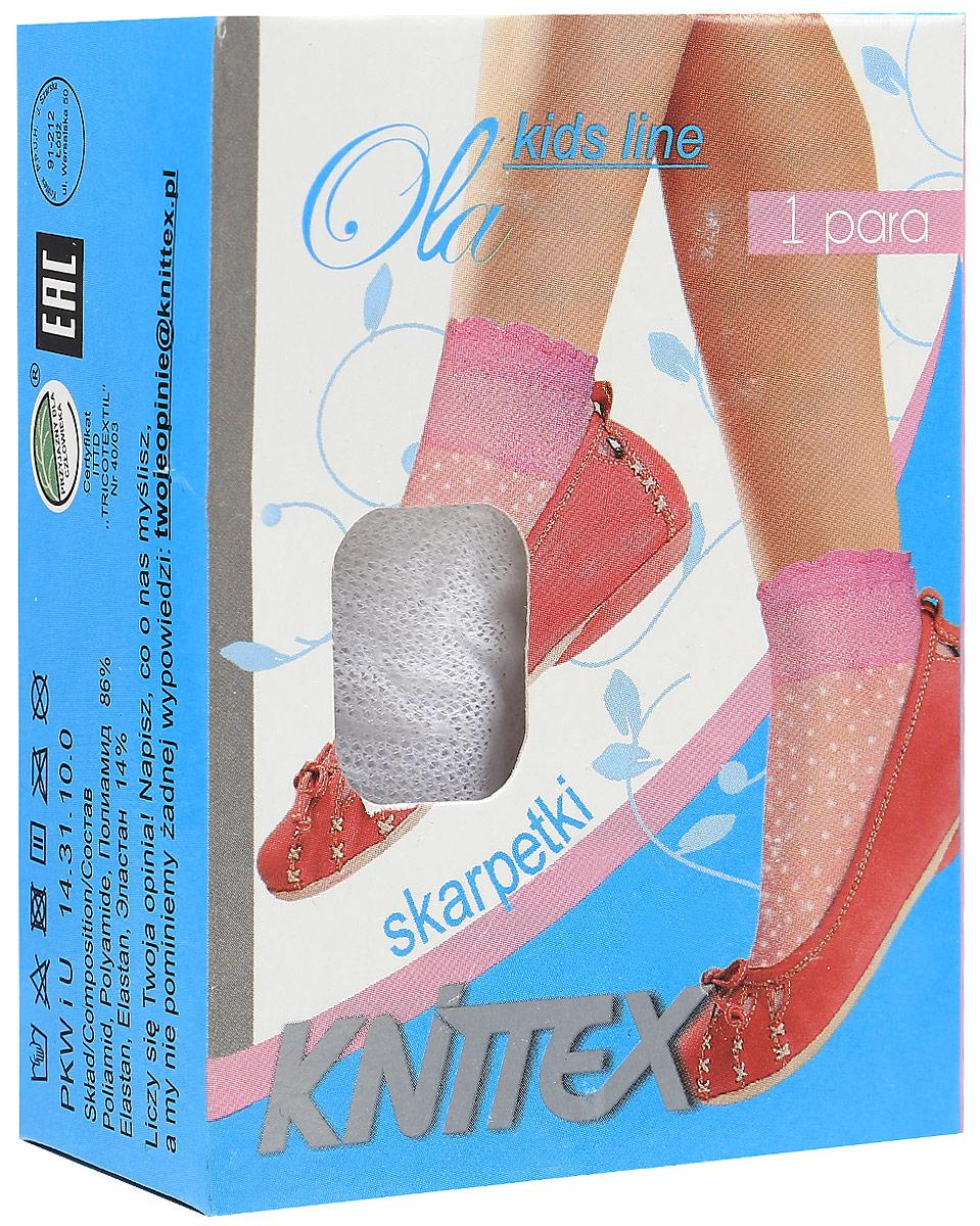 Носки для девочки Knittex, цвет: белый. Ola. Размер 20/26OlaНоски для девочки выполнены из полиамида и эластана. Модель оформлена нежным принтом.