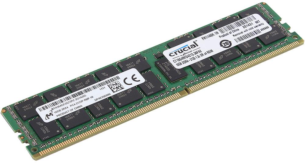 Crucial ECC Reg CL15 Dual Rank DDR4 16GB 2133МГц модуль оперативной памятиCT16G4RFD4213Модуль оперативной памяти Crucial CT16G4RFD4213 прекрасно подойдет для серверов, которые нуждаются в оперативной памяти с высокой производительностью. По сравнению с DDR3, оперативная память DDR4 предлагает удвоенную пропускную способность 25,6 Гб/с, при этом потребляя меньше питания (1.2 В). Crucial CT16G4RFD4213 совместима с процессорами Intel семейства Xeon Е3-1200 V3 и е5-2600 V3.DDR4 обеспечивает повышенную производительность, увеличенную емкость DIMM, улучшенную целостность данных и пониженное энергопотребление. Crucial CT16G4RFD4213 достигает скорости до 2Гбит/с на контакт и потребляет меньше энергии, чем DDR3L (DDR3 с пониженным напряжением), обеспечивая до 50% роста производительности и скорости, а также снижая энергопотребление всей вычислительной среды. Она имеет ряд усовершенствований по сравнению с более старыми технологиями памяти и позволяет экономить до 40% энергии. В дополнение к оптимизированной производительности и более низкому энергопотреблению DDR4 также выполняет циклические проверки с избыточностью (CRC) для обеспечения повышенной надежности хранения данных, имеет встроенную функцию контроля нарушения четности для проверки целостности передачи команд и адресов, обеспечивает повышенную целостность сигнала и другие функции RAS.