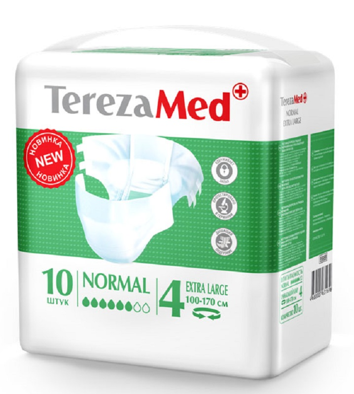 TerezaMed Подгузники для взрослых Normal Extra Large (4) 10 шт16827Подгузники TerezaMed Normal Extra Large предназначены для больных недержанием средней тяжести. Подгузник выполнен из мягкого дышащего материала, который пропускает пары влаги. Это позволяет коже пациента под подгузником дышать, а так же снижает риск появления опрелостей. Ядро подгузника состоит из натурального материала - целлюлозы, в которую добавлен суперабсорбент, впитывающий жидкость в больших количествах и обладающий свойством подавлять развитие неприятного запаха. Зеленый распределительный слой эффективно впитывает жидкость и распределяет ее внутри подгузника, тем самым снижая риск появления протечек. Крепление подгузника обеспечивается надежными липучками типа замочек, что позволяет многократно их приклеивать и отклеивать. Боковые бортики вокруг ног сделаны из гидрофобного материала и надежно запирают жидкость внутри. Размер талии пациента: очень большой, 100-170см. Количество в упаковке: 10 штук. Впитываемость: 2500 мл ±5%