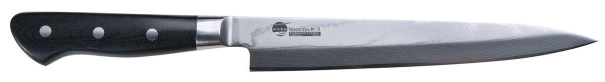Нож кухонный Supra Yanagiba, длина лезвия 26,6 смSK-DY27Для того чтобы приготовить настоящее японское блюдо нужен настоящий японский нож. Этот нож для суши хорошо приспособлен для тонкой нарезки рыбы и всех необходимых продуктов. Односторонняя заточка выручит вас в том случае, если придется иметь дело с нарезкой замороженных морепродуктов. Длинное лезвие обеспечивает тонкие и точные разрезы. Этот нож имеет традиционную структуру: клинок ножа изготовлен из нержавейки, а по бокам размещены обкладки из легендарной дамасской стали. Удобная рукоять позволяет работать ножом длительное время и не чувствовать усталости.