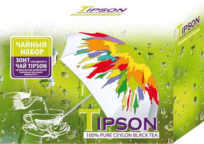 Tipson подарочный набор черный чай Ceylon №1 и зонтик, 85 г10127-00Подарочный набор Tipson - это один из самых полезных и приятных сувениров, которому будет рад любой получатель. Такой оригинальный сет отличается не только практичностью, но и великолепными эстетическими составляющими, поэтому может стать презентабельным подарком по любому поводу, будь то 8 Марта, День всех влюбленных, юбилей, день рождения, новоселье и т. д. Чайный набор Tipson включает в себя чай черный цейлонский байховый листовой Tipson Ceylon №1 и зонт женский, механический.