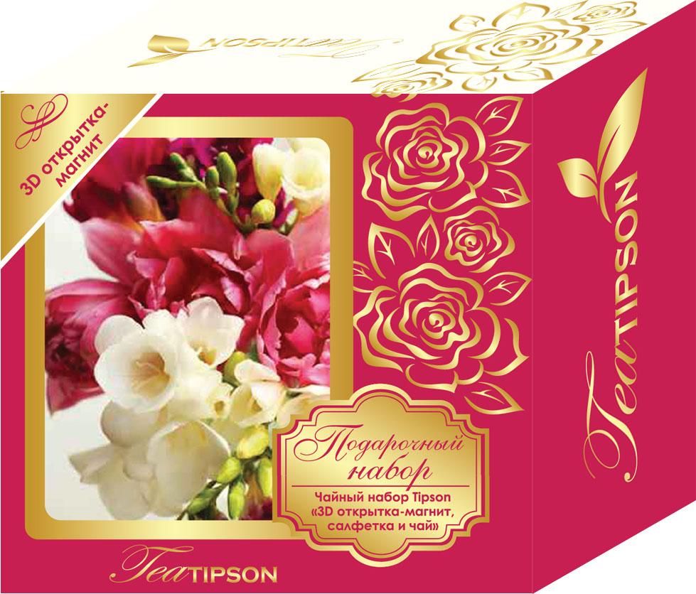 Tipson Розовый подарочный набор черный чай Ceylon №1 в пакетиках с 3D открыткой-магнитом и салфеткой, 25 шт tipson империал 3 чайный набор стеклянный чайник и чай 50 г