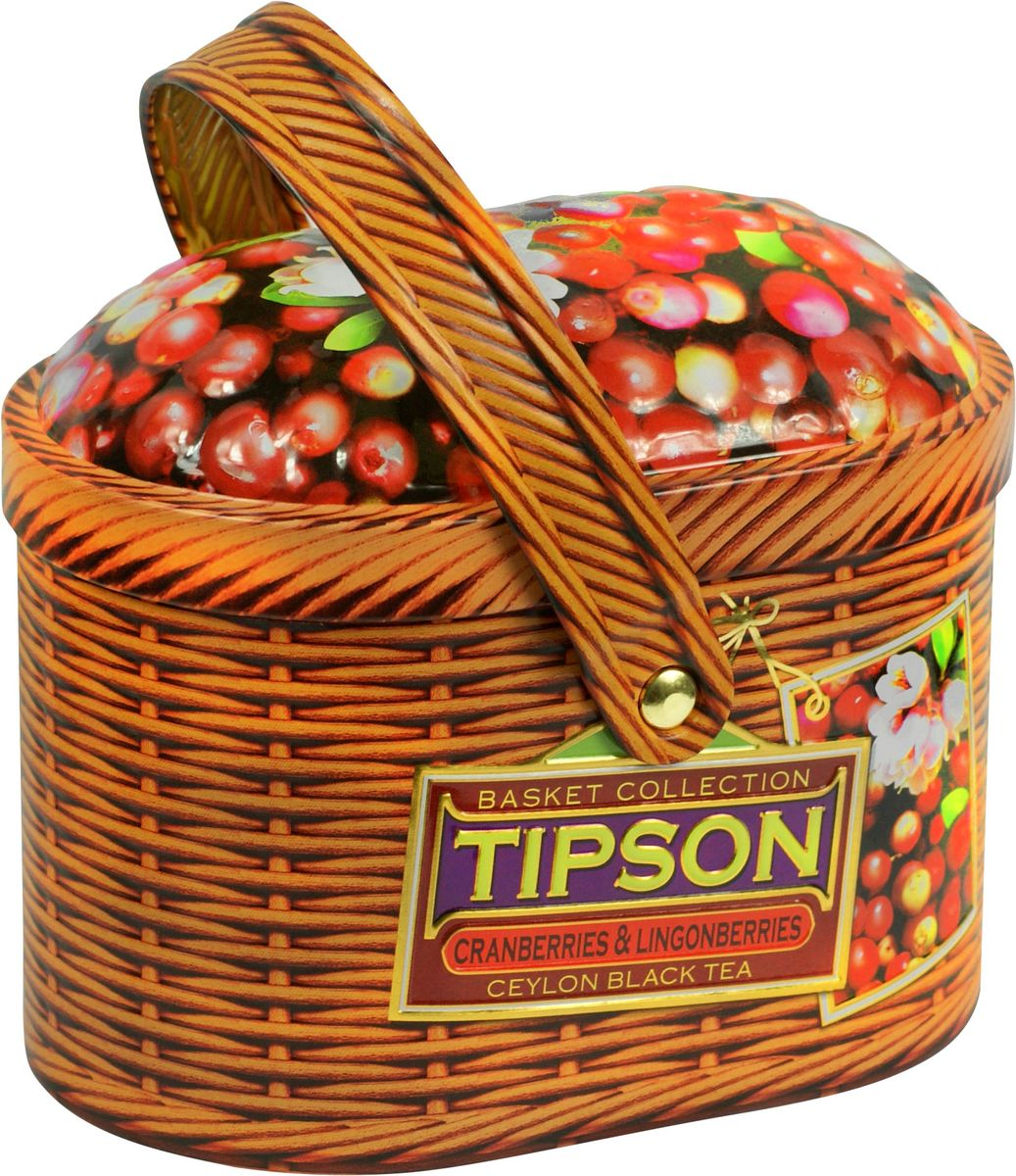 Tipson Basket-Cranberries and Lingonberries чай черный листовой с ягодами клюквы и китайской березы, 80 г купить