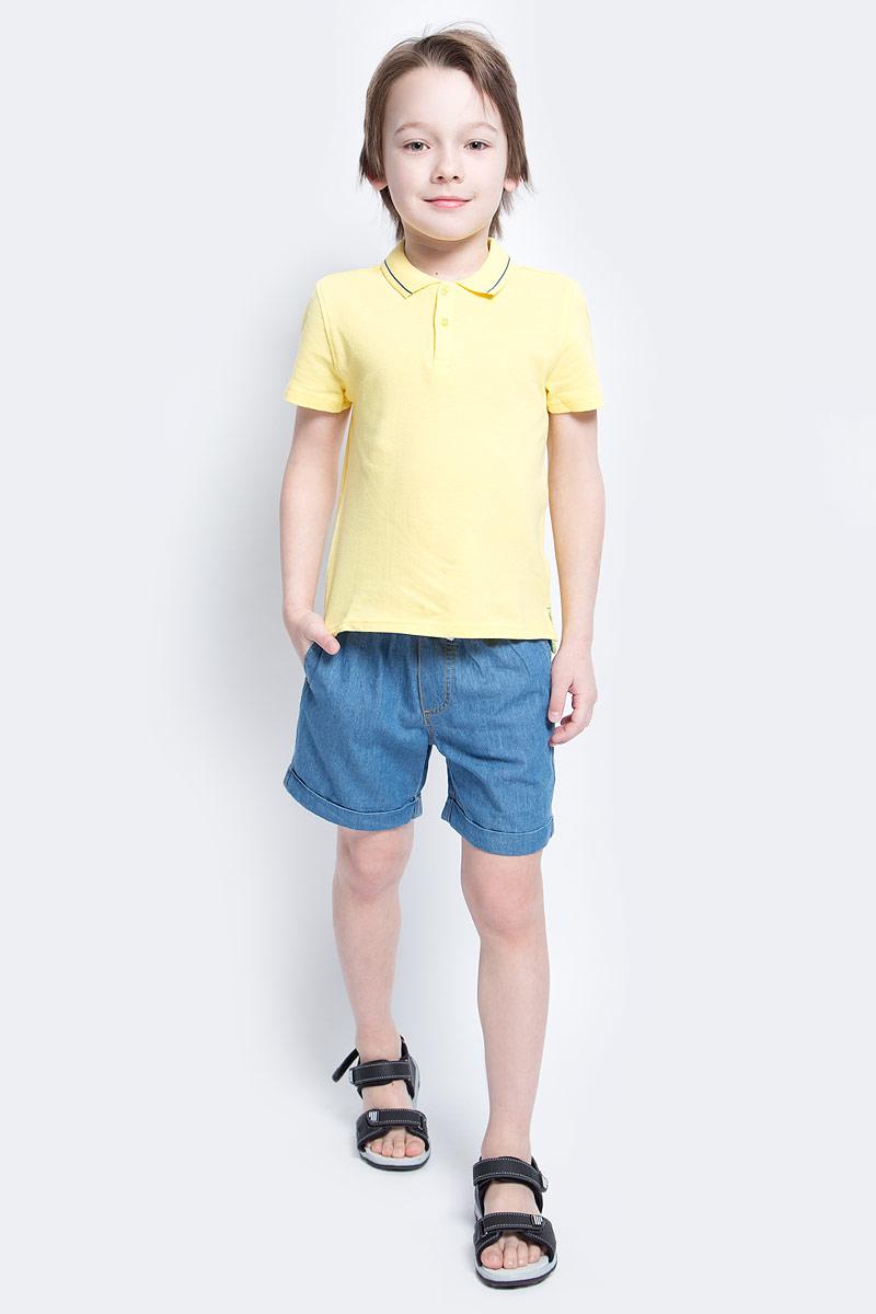 Поло для мальчика Button Blue Main, цвет: желтый. 117BBBC14012700. Размер 152, 12 лет117BBBC14012700Футболка-поло - изделие из разряда Must Have. Это не только базовая вещь в гардеробе ребенка, но и залог хорошего летнего настроения. Если вы решили купить недорогуюфутболку-поло для мальчика, выберете эту модель от Button Blue и ваш ребенок будет доволен.