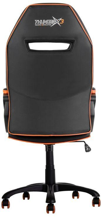 ThunderX3 TX3-10, Black Orange профессиональное геймерское креслоTX3-10BOПрочная металлическая основа.Мягкий кожзам.Тип механизма бабочка.Пневматическая регулировка высоты сиденья.Угол раскачивания 3° - 18°.50 мм нейлоновые колесики.