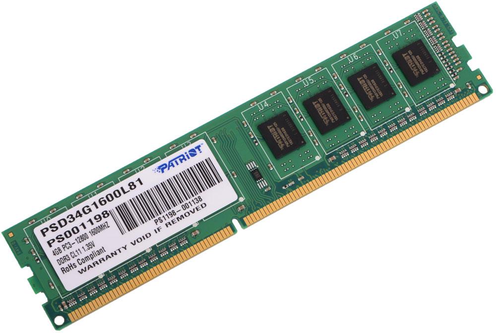 Patriot DDR3 DIMM 4Gb 1600МГц модуль оперативной памяти (PSD34G1600L81) модуль оперативной памяти пк patriot pv38g160c9k pv38g160c9k