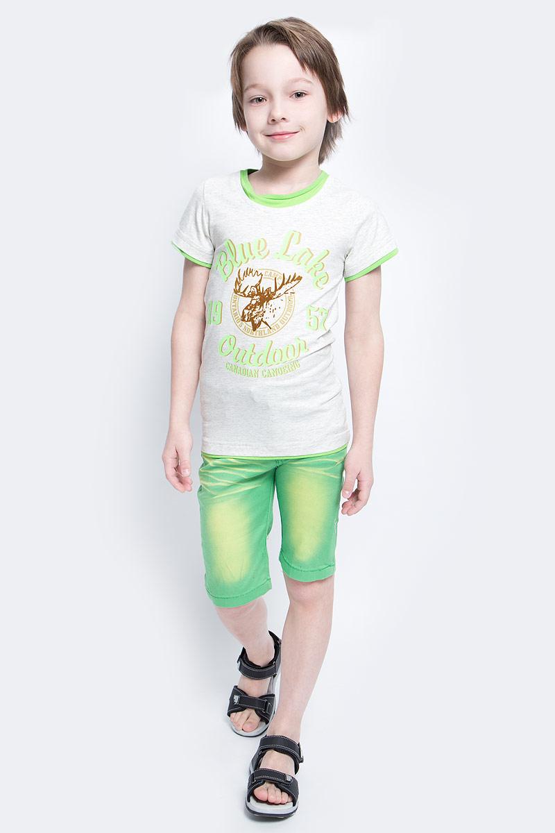 Футболка для мальчика Nota Bene, цвет: светло-серый меланж, салатовый. SS161B222-54. Размер 104SS161B222-54Футболка для мальчика Nota Bene, изготовленная из эластичного хлопка, идеально подойдет для повседневной носки. Материал изделия мягкий и приятный на ощупь, не сковывает движения и позволяет коже дышать, обеспечивая комфорт. Футболка с круглым вырезом горловины и короткими рукавами оформлена термоаппликацией с бархатистой поверхностью и принтовыми надписями. Отделка горловины, рукавов и низа изделия придает футболке эффект 2 в 1. Футболка станет отличным дополнением к детскому гардеробу, ребенку в ней будет комфортно и удобно.