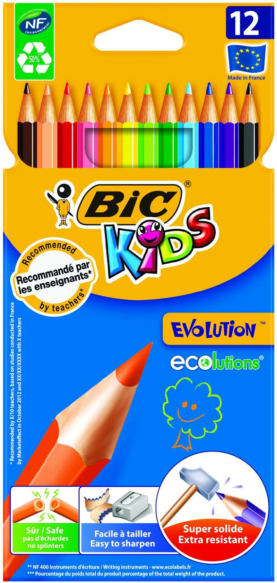 Bic Набор цветных карандашей Evolution 12 цветовВ82902910Набор Bic Evolution состоит из 12 суперпрочных ярких цветных карандашей, не содержащих древесины. Эти карандаши - идеальный вариант для детей, потому что они обладают очень высоким уровнем прочности, в том числе ударопрочным грифелем. Если малышу все же удастся сломать карандаш - на месте излома не образуется острых краев, что снижает вероятность травмирования. Классический шестигранный корпус. Легко затачиваются.