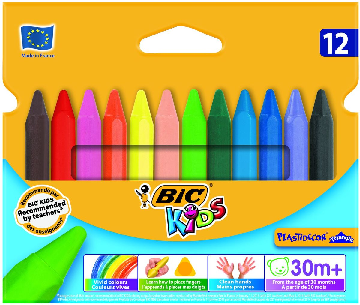 Bic Мелки цветные Plastidecor 12 цветовB829773Восковые мелки Bic Plastidecor откроют юным художникам новые горизонты для творчества, а также помогут отлично развить мелкую моторику рук, цветовое восприятие, фантазию и воображение.Прочные пластиковые мелки предназначены для рисования на картоне и бумаге. Утолщенный трехгранный корпус особенно удобен для детской руки. Мелки обеспечивают удивительно мягкое письмо, обладают отличными кроющими свойствами. Их можно затачивать и стирать как карандаш. Мелки не пачкаются, что позволит сохранить руки чистыми. В набор входят восковые мелки 12 ярких классических цветов. Идеальный инструмент для рисования для детей от 30 месяцев.