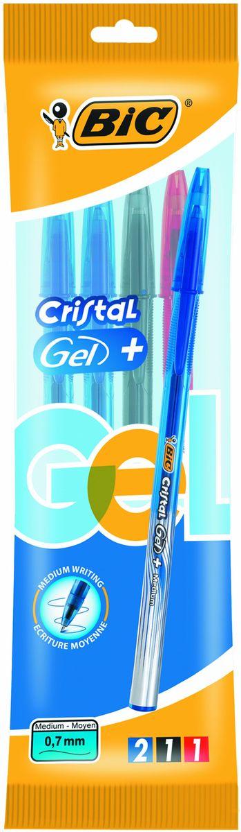Bic Набор гелевых ручек Cristal Gel 4 штB919229Набор гелевых ручек Bic Cristal Gel с тремя цветами: синий, черный и красный - это удобный вариант для любителей тонкого письма гелевыми ручками. Яркие цвета, видимый уровень чернил. Гелевая ручка с тонким пишущим узлом. Пишущий узел диаметром 0,5 мм. позволяет чертить красивые тонкие линии. Набор гелевых ручек Bic Cristal Gel обеспечит вам мягкое письмо. Дизайн с эффектом металлик, а также удобная область грипа для более комфортного письма. Подходит для официальных бланков ЕГЭ, ГИА и т.д.