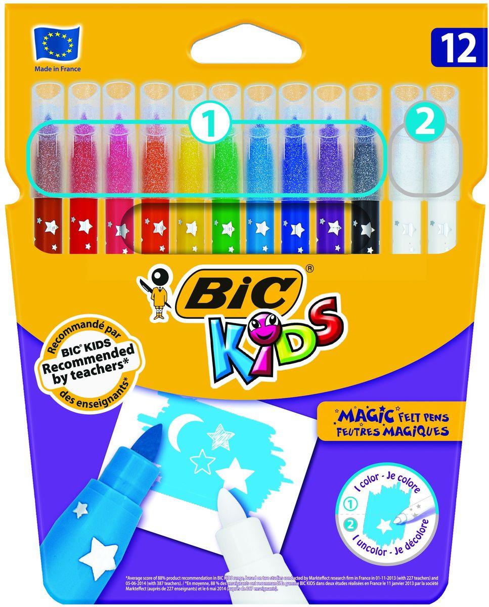 Bic Фломастеры Magic 12 цветовB9202962Набор Bic Magic состоит из 12 фломастеров, в который вошли 10 цветных фломастеров, а так же 2 обесцвечивающих, предназначенных для исправления ошибок. Чернила на водной основе легко смываются скожи, большинства материалов и отстирываются с одежды. Фломастеры на водной основе (без спирта) имеют специальные чернила, которые позволяют создавать специальные эффекты. Линии средней толщины – 0.8 мм. Блокированный пишущий узел позволяет грифелю не вдавливатьсядаже при сильном детском нажатии. Вентилируемый колпачок.Идеальны для ежедневного использования детьми от 5 лет.
