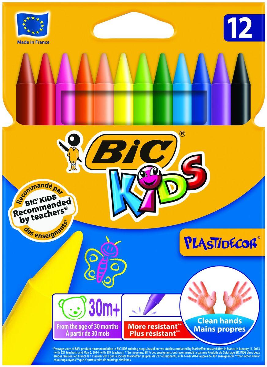 Bic Мелки восковые Plastidecor 12 цветовB920299Восковые мелки Bic Plastidecor откроют юным художникам новые горизонты для творчества, а также помогут отлично развить мелкую моторику рук, цветовое восприятие, фантазию и воображение.Прочные пластиковые мелки предназначены для рисования на картоне и бумаге. Они обеспечивают удивительно мягкое письмо, обладают отличными кроющими свойствами. Их можно затачивать и стирать как карандаш. Мелки не пачкаются, что позволит сохранить руки чистыми. В набор входят восковые мелки 12 ярких классических цветов. Нетоксичны, безопасны для детей.