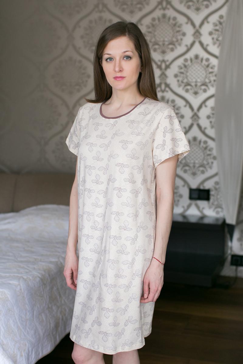Платье домашнее Marusя, цвет: какао. 160036. Размер XXL (52)160036Домашнее платье Marusя изготовлено из качественной смесовой ткани. Модель длины мини оформлена оригинальным рисунком. Платье с круглым вырезом горловины и короткими рукавами.