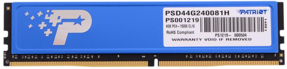 Patriot DDR4 DIMM 4Gb 2400МГц модуль оперативной памяти (PSD44G240081H)PSD44G240081HНебуферезированная память Patriot DDR4 PSD44G240081H предоставляет качество работы, надежность и производительность - основные требования для современных компьютеров. Этот модуль емкостью 4 ГБ, спроектирован для работы на частоте 2400 МГц PC4-19000 и таймингах CAS 16 для лучшего отклика системы при использовании необходимых приложений.Модули памяти Patriot изготовлены из материалов высочайшего качества и протестированы вручную. Patriot заверяет, что каждый модуль памяти соответствует и превышает стандарты отрасли: апгрейд безо всяких замешательств.