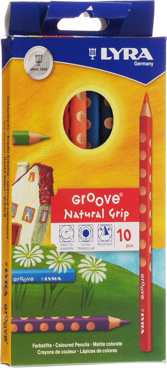 Lyra Набор цветных карандашей Groove 10 штL3811100Цветные карандаши Lyra Groove понравятся вашему юному художнику.Набор включает в себя 10 ярких цветных карандашей треугольной формы с эргономичным захватом. Карандаши изготовлены из натурального сертифицированного дерева, экологически чистые. Имеют ударопрочный неломающийся грифель, не требующий сильного нажатия, легко затачиваются.