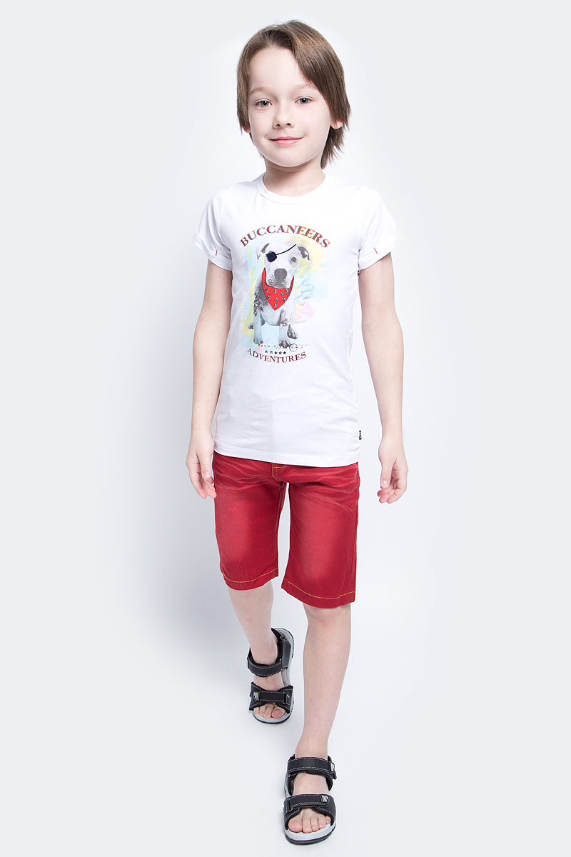 Футболка для мальчика Nota Bene, цвет: белый. SS161B302-1. Размер 104SS161B302-1Футболка для мальчика Nota Bene, изготовленная из эластичного хлопка, идеально подойдет для повседневной носки. Материал изделия мягкий и приятный на ощупь, не сковывает движения и позволяет коже дышать, обеспечивая комфорт. Футболка с круглым вырезом горловины и короткими рукавами оформлена оригинальным изображением собачки, а также принтовыми надписями. На рукавах предусмотрены декоративные отвороты. Модель украшена фигурными металлическими клепками.Футболка станет отличным дополнением к детскому гардеробу, ребенку в ней будет комфортно и удобно.