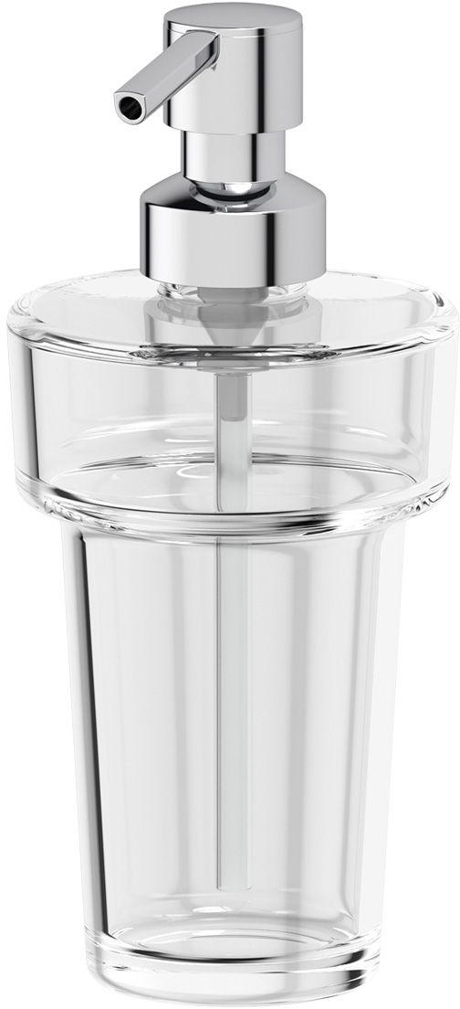Емкость для жидкого мыла Ellux, с помпой, цвет: хром. ELU 003ELU 003Емкость для жидкого мыла с помпой Ellux имеет стильный дизайн и очень удобна в применении. Изделие выполнено из хрусталя и пластика. Впишется в интерьер любой ванной комнаты и латуни. Дозатор выдает необходимое количество жидкого мыла при одном нажатии.