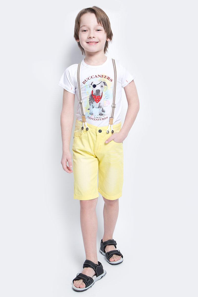Шорты для мальчика Nota Bene, цвет: желтый. SS161B417-2. Размер 116SS161B417-2Удобные шорты для мальчика Nota Bene идеально подойдут вашему маленькому моднику. Изготовленные из эластичного хлопка, они не сковывают движения, сохраняют тепло и позволяют коже дышать, обеспечивая наибольший комфорт.Шорты застегиваются на пуговицу в поясе, также имеются шлевки для ремня и ширинка на застежке-молнии. Объем пояса регулируется изнутри при помощи эластичной резинки с пуговицами. Спереди модель дополнена двумя втачными карманами и накладным кармашком, а сзади - двумя накладными карманами. Оформлено изделие перманентными складками и легким эффектом потертости. В комплект входят стильные съемные подтяжки, фиксирующиеся при помощи пуговиц. Практичные и стильные шорты идеально подойдут вашему малышу, а модная расцветка и высококачественный материал позволят ему комфортно чувствовать себя в течение дня и всегда оставаться в центре внимания!
