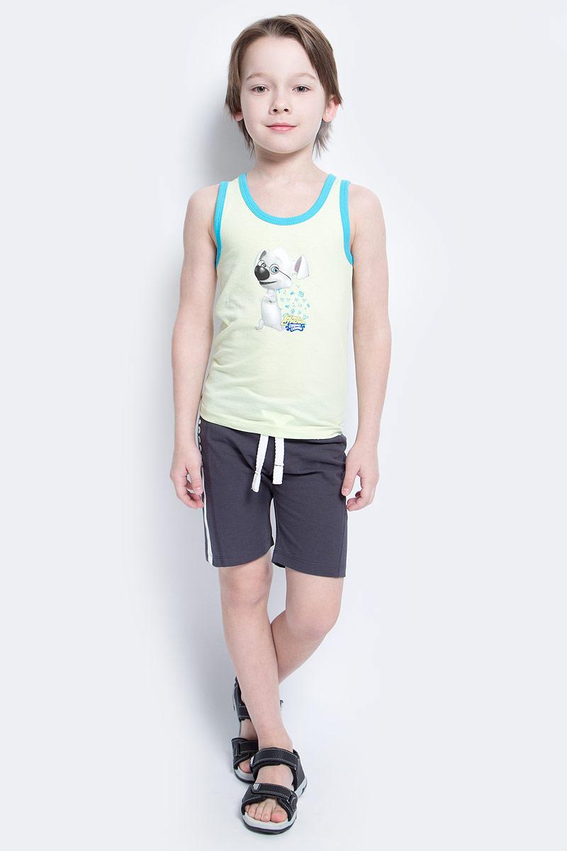 Майка для мальчика КотМарКот, цвет: светло-салатовый, голубой. 14206. Размер 122, 7 лет14206Майка для мальчика КотМарКот станет модным и стильным предметом детского гардероба. Она удобна как для занятий спортом, так и для повседневной носки. Изготовленная из натурального хлопка, майка необычайно мягкая и приятная на ощупь, не сковывает движения и позволяет коже дышать, не раздражает даже самую нежную и чувствительную кожу ребенка, обеспечивая ему наибольший комфорт.Круглый вырез горловины и проймы дополнены трикотажной эластичной бейкой контрастного цвета. На груди изделие декорировано изображением персонажа из мультсериала Белка и Стрелка. Озорная семейка.Стильный крой и современный дизайн майки добавляют сходство со взрослыми моделями. В ней ваш маленький непоседа будет чувствовать себя уютно и комфортно.