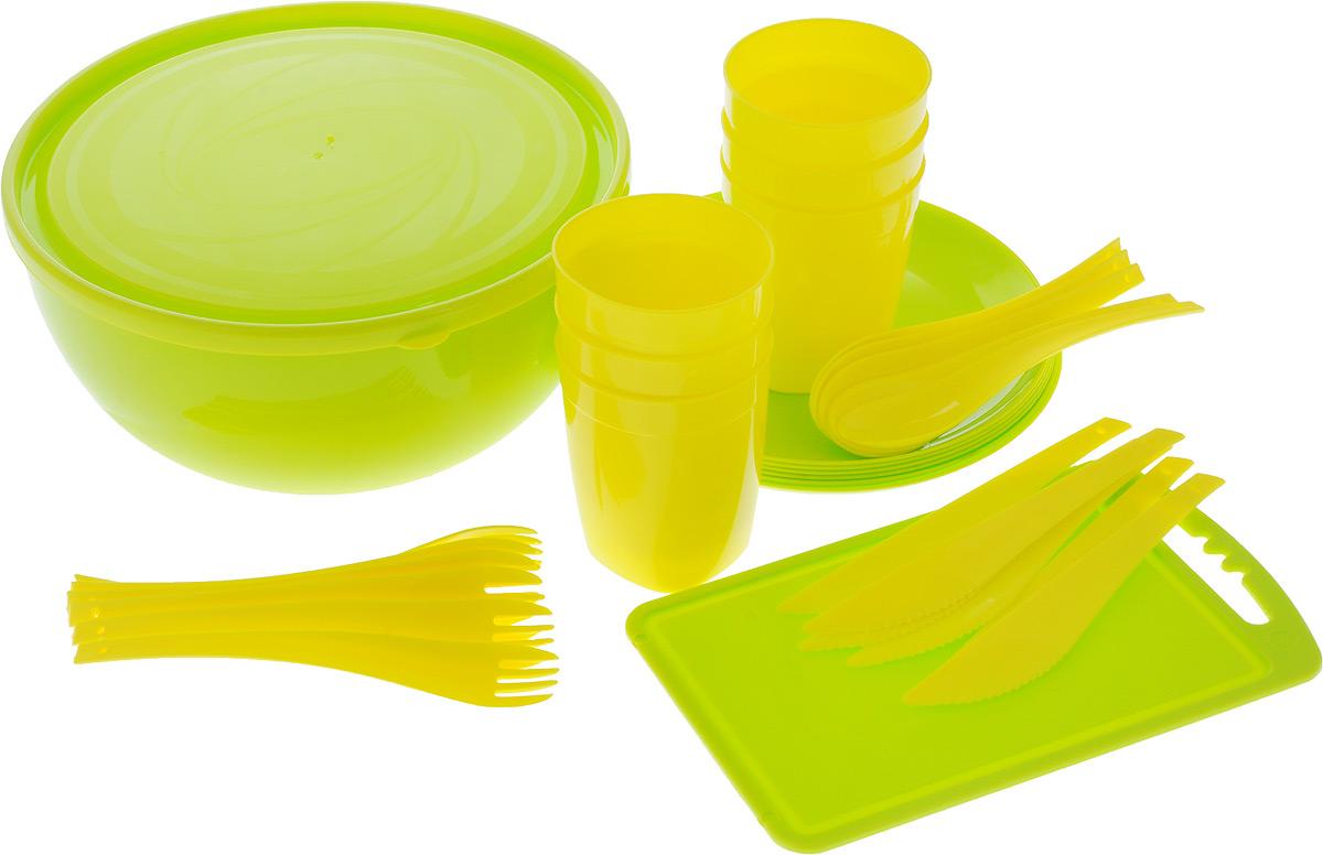 Набор для пикника Plastic repablic Краски лета, 33 предметаТДД26678Набор для пикника и барбекю Plastic repablic Краски лета предназначен на 6 персон. Изделия выполнены из высококачественного пищевого пластика. Разделочная доска пригодится для резки овощей и зелени. В объемный салатник с крышкой «Galaxy» хорошо сложить приготовленный шашлык, а столовых приборов, стаканов и тарелок хватит на целую компанию. Легкий и прочный пластик подходит для многократного использования.Набор для пикника Краски лета обеспечит полноценный отдых на природе для большой компании или семьи. В набор входят: - доска разделочная - диаметр 24 см x 15 см; - салатник - объем 4 л, диаметр 25 см, высота стенки 12,5 см;- крышка - диаметр 25 см;- 6 тарелок - диаметр 20,5 см, высота стенки 1 см; - 6 стаканов - объем 400 мл, диаметр (по верхнему краю) 8 см, высота 10 см;- 6 вилок - длина 19 см; - 6 ложек - длина 19 см; - 6 ножей - длина 19 см.