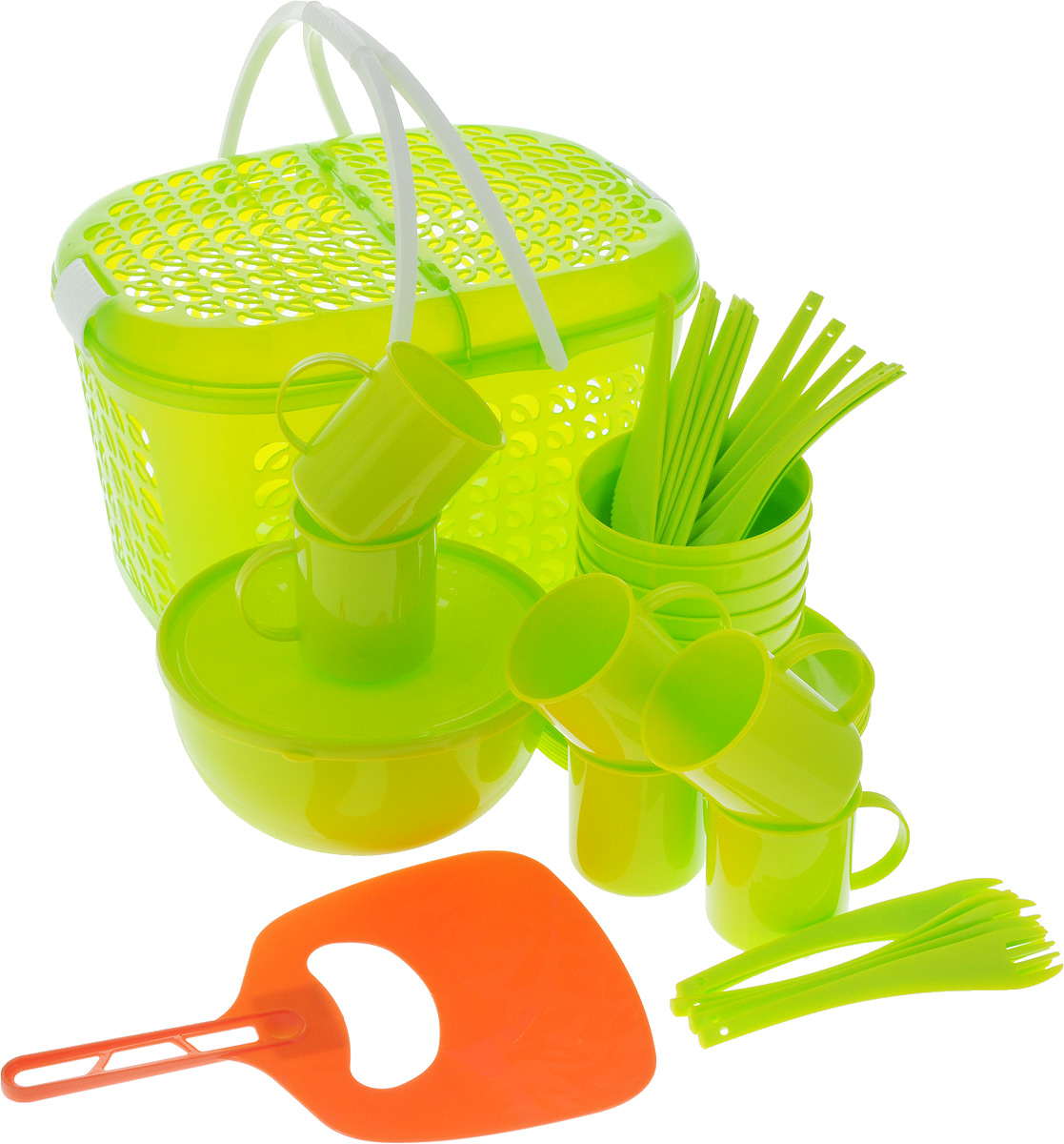 Набор для пикника Plastic repablic, 40 предметовТДД25562Набор для пикника Plastic repablic предназначен на 6 персон. Изделия выполнены из высококачественного пищевого пластика.Изделия удобно располагаются в корзине-переноске в которой можно переносить или перевозить предметы. Корзина-переноска «Galaxy» позволит вместить не только сам набор, но и еду для пикника.Набор для пикникаобеспечит полноценный отдых на природе для большой компании или семьи. В набор входят: - корзина-переноска - размеры (с учетом крышки) 22 x 19 x 37 см; - салатник - объем 2,5 л, диаметр (по верхнему краю) 21 см, высота стенки 10 см;- крышка - диаметр 21 см;- 6 мисок - диаметр (по верхнему краю) 12,2 см, высота стенки 6 см;- 6 тарелок - диаметр 20,5 см, высота стенки 1 см; - 6 кружек - объем 300 мл, диаметр (по верхнему краю) 7,5 см, высота 8 см;- 6 вилок - длина 19 см; - 6 ложек - длина 19 см; - 6 ножей - длина 19 см; - веер для раздува мангала - размеры 30,5 x 20 см.