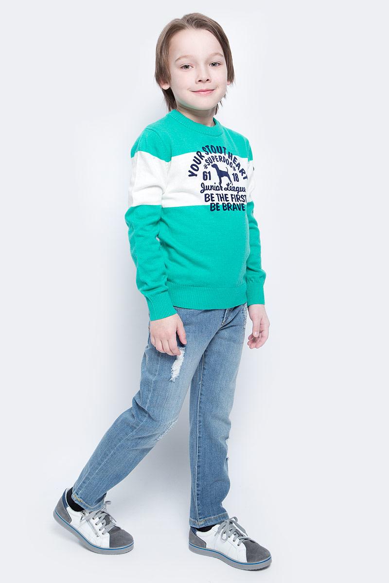 Джемпер для мальчика Nota Bene, цвет: изумрудный, белый. WK5209-84. Размер 116WK5209-84Модный джемпер Nota Bene подарит вашему мальчику комфорт и удобство в прохладные дни. Изготовленный из хлопка с добавлением нейлона и шерсти, он необычайно мягкий и приятный на ощупь. Джемпер с длинными рукавами и круглым вырезом горловины превосходно тянется и отлично сидит. Горловина, манжеты рукавов и низ джемпера связаны резинкой. Модель оформлена принтовыми надписями на английском языке.Оригинальный современный дизайн и модная расцветка делают этот джемпер модным и стильным предметом детского гардероба.