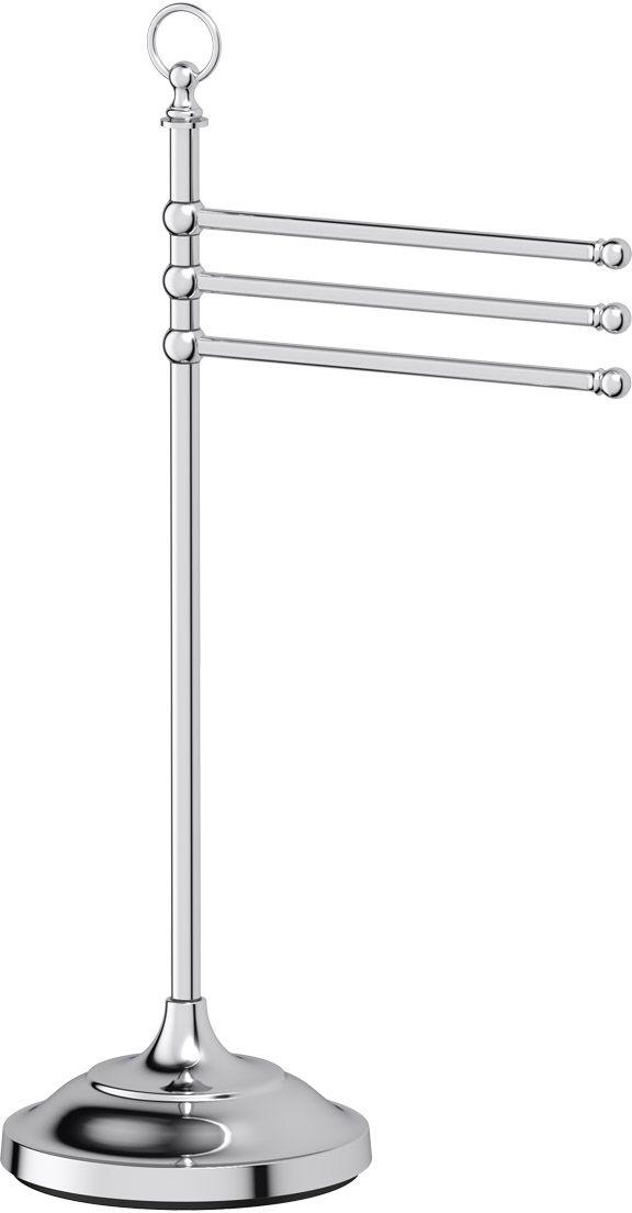 Стойка с держателем полотенец 3SC Stilmar Un, цвет: хром. STI 031STI 031Стойка с держателем полотенец 3SC Stilmar Un изготовлена из латуни. Латунь, используемая в производстве аксессуаров, обладает высокой прочностью икоррозионной стойкостью, и считается лучшим материалом для изготовления аксессуаров. Дизайн коллекций компании 3SC оригинален и узнаваем. Цель дизайнеров - находить равновесие между эстетикой и функциональностью. Это обдуманная четкая философия, которая проходит через все процессы производства мастерской региона Тоскана. Многолетний опыт, воплощение социальных и культурных традиций, а также постоянный поиск новых решений - все это сконцентрировано в коллекциях 3SC. Особенное внимание уделяется декоративной отделке изделий, которая выполнена умелыми руками настоящих итальянских мастеров. Разнообразие стилей позволяет удовлетворить различные вкусы клиента от классики до хай-тек, давая возможность гармонично сочетать аксессуары с зеркалами и освещением.