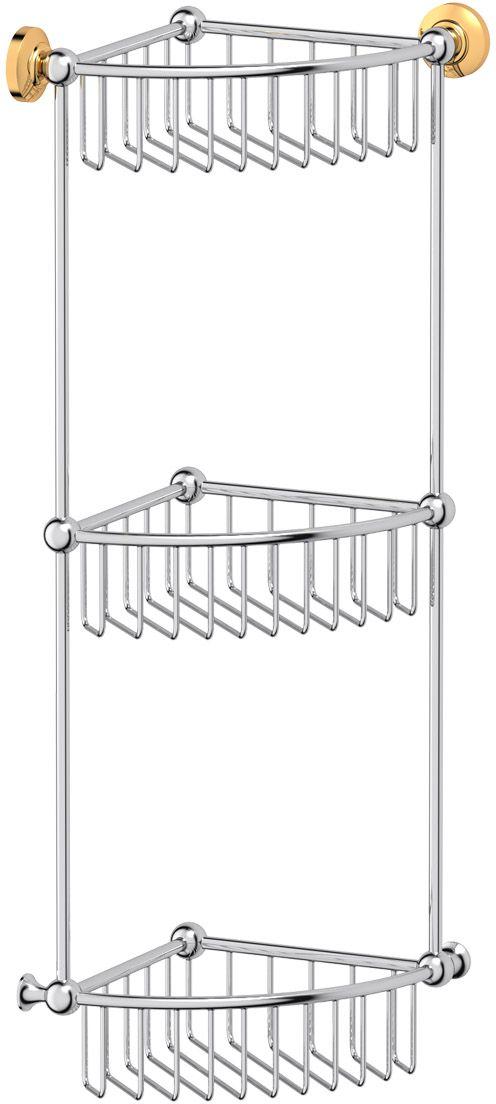 """Полочка-решетка для ванной 3SC """"Stilmar"""", угловая, 3-х ярусная, 23 см, цвет: хром, золото. STI 109"""