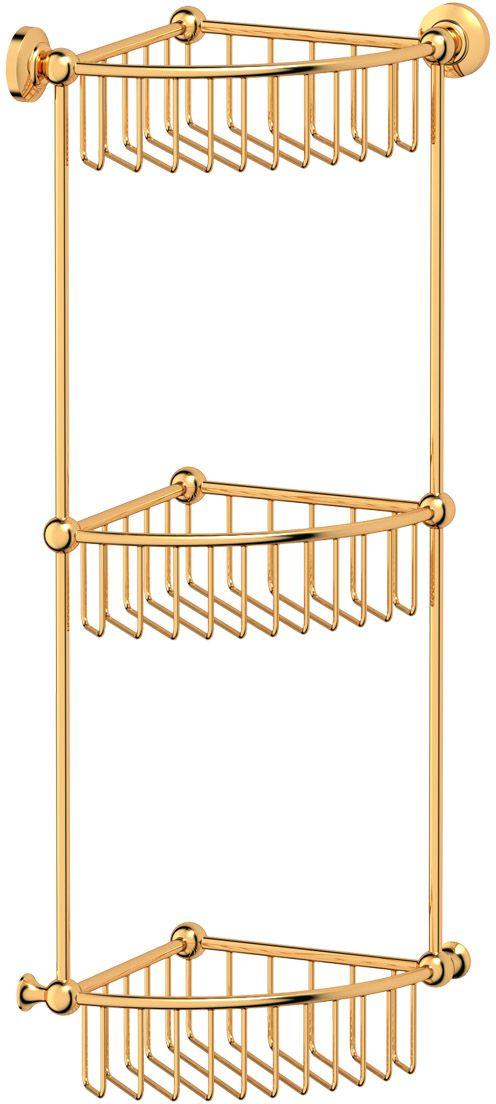 """Полочка-решетка для ванной 3SC """"Stilmar"""", угловая, 3-х ярусная, 23 см, цвет: золото. STI 209"""