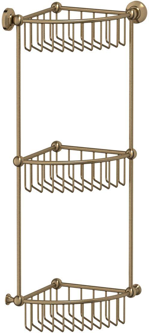 "Полочка-решетка для ванной 3SC ""Stilmar"", угловая, 3-х ярусная, 23 см, цвет: античная бронза. STI 509"