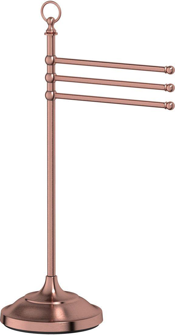 Стойка с держателем полотенец 3SC Stilmar Un, цвет: античная медь. STI 631STI 631В течение 20 лет компания Lineag разрабатывает и производит эксклюзивные аксессуары для ванной комнаты, используя современные технологии и высококачественные материалы. Каждый продукт Lineag произведен исключительно в Италии. Изысканный дизайн аксессуаров Lineag создает уникальную атмосферу уюта и роскоши в вашей ванной.Высококачественная латунь - дорогостоящий многокомпонентный медный сплав с основным легирующим элементом - цинком. Обладает высокой прочностью и коррозионной стойкостью. Считается лучшим материалом для изготовления аксессуаров, смесителей и другого сантехнического оборудования. Сделано из латуни. Латунь, используемая в производстве аксессуаров, обладает высокой прочностью и коррозионной стойкостью, и считается лучшим материалом для изготовления аксессуаров. Гарантия 12 лет.Высокое качество продукции позволяет производителю предоставлять 12-летнюю гарантию на изделия при условии их правильной эксплуатации. Произведено в Италии.Весь технологический цикл производства осуществляется на территории Италии. Оптическое стекло - стекло специального состава, отличающееся особенно высокой прозрачностью, кристальной чистотой, бесцветностью и однородностью. Хром - очень прочный, износостойкий металл, обладающий корозийной стойкостью. Предмет декорирован кристаллами, что предает изысканность и индивидуальность. Дизайн и конструкция предмета продумана так, что все крепежные элементы не видны при его использовании.