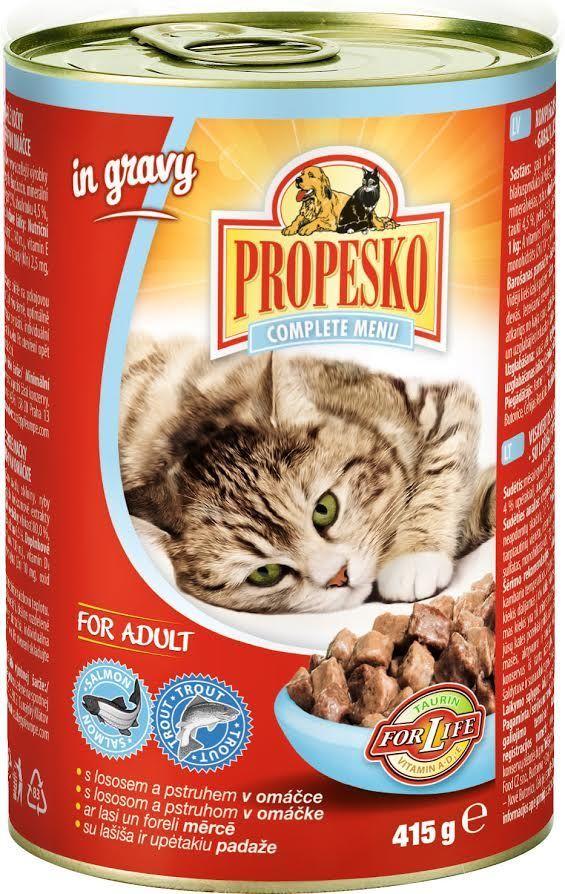 Консервы для кошек Propesko, с лососем и форелью в соусе, 415 г14263Консервы Propesko - это полнорационное питание для взрослых кошек. Консервированный корм оказывает благотворное влияние на организм питомца, улучшает пищеварение и дарит чувство сытости на долгое время.Состав: мясо и мясные продукты, злаки, рыба и рыбные продукты (4% лосося, 4% форели), экстракты белков растительного происхождения, минеральные вещества, сахар.Питательные вещества: белок 7,5%, жир 4,5%, зола 2,5%, клетчатка 0,5%, влага 80%.Пищевые добавки на 1 кг: витамин А 1100 МЕ, витамин Д3 140 МЕ, витамин Е 15 мг, цинк 10 мг, марганец 2,5 мг, таурин 450 мг.Товар сертифицирован.