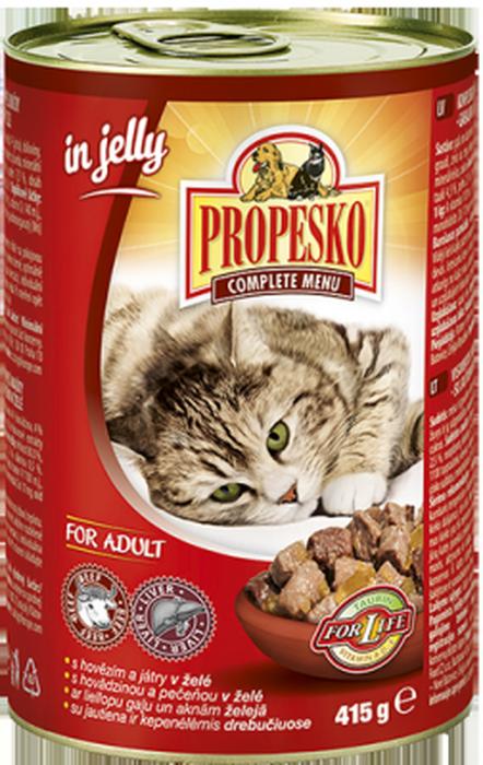 Консервы для кошек Propesko, желе с говядиной и печенью, 415 г14264Консервы Propesko - это полнорационное питание для взрослых кошек. Консервированный корм оказывает благотворное влияние на организм питомца, улучшает пищеварение и дарит чувство сытости на долгое время.Состав: мясо и мясные продукты (4% говядины, 4% печени), злаки, рыба и рыбные продукты, экстракты белков растительного происхождения, минералы, сахар.Питательные вещества: белок 7,5%, жир 4,5%, зола 2,5%, клетчатка 0,5%, влага 80%.Пищевые добавки на 1 кг: витамин А 1100 МЕ, витамин Д3 140 МЕ, витамин Е 15 мг, цинк 10 мг, марганец 2,5 мг, таурин 450 мг.Товар сертифицирован.