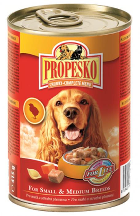 Консервы для собак Propesko, с курицей, пастой и морковью, 415 г14519Консервы для собак Propesko имеют восхитительный вкус благодаря качеству ингредиентов и прекрасному составу. Они производятся без консервантов, обогащены витаминами и минералами, хорошо усваиваются организмом. Консервы могут использоваться в качестве добавления к сухому корму или как поощрение. Разработаны с учетом потребностей собак. Состав: мясо и производные (в том числе 5% курицы), крупы, хлебобулочные изделия (5% макаронных изделий), овощи (5% моркови), растительные экстракты белка, минералов, производные растительного происхождения (0,2% инулина), различные сахара. Анализ: влажность 80,0%, белок 8,0%, содержание жира 5,0%, сырая зола 2,5%, сырые волокна 0,5%. Товар сертифицирован.