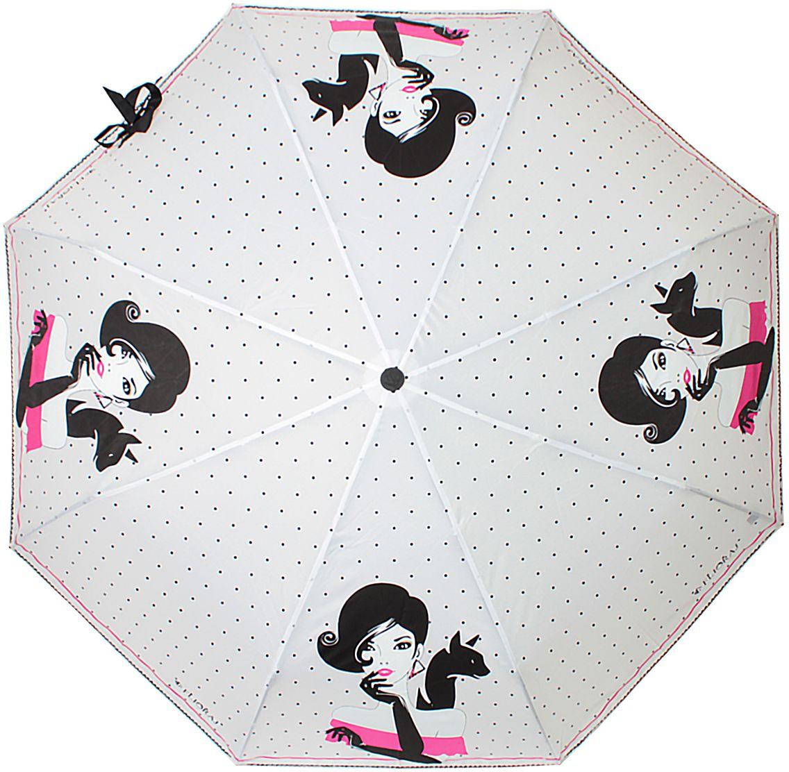 Зонт женский Flioraj, автомат, 3 сложения, цвет: молочный, черный, фуксия. 160406 FJ