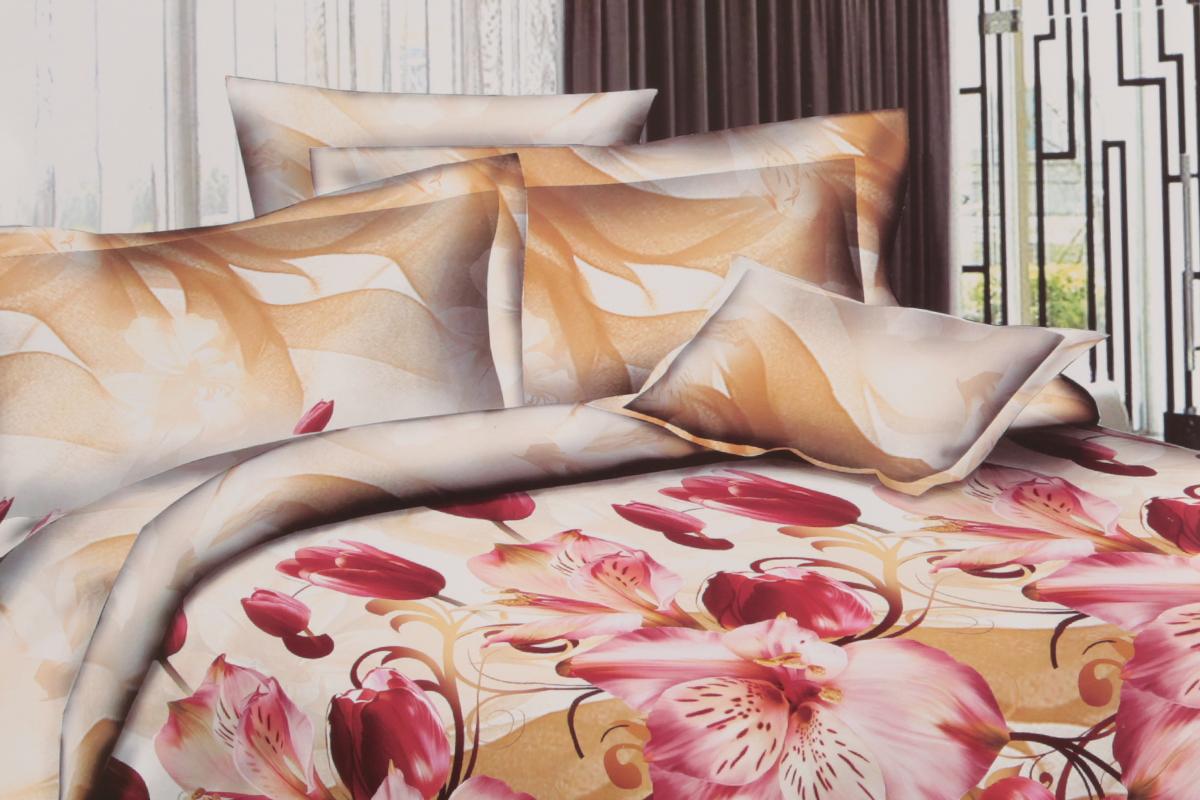Комплект белья ЭГО Фантазия, 1,5-спальный, наволочки 70x70Э-2036-01Комплект постельного белья ЭГО Фантазия выполнен из полисатина (50% хлопка, 50% полиэстера). Комплект состоит из пододеяльника, простыни и двух наволочек. Постельное белье, оформленное цветочным принтом, имеет изысканный внешний вид и яркую цветовую гамму. Наволочки застегиваются на клапаны.Гладкая структура делает ткань приятной на ощупь, мягкой и нежной, при этом она прочная и хорошо сохраняет форму. Ткань легко гладится, не линяет и не садится.Благодаря такому комплекту постельного белья вы сможете создать атмосферу роскоши и романтики в вашей спальне. Советы по выбору постельного белья от блогера Ирины Соковых. Статья OZON Гид