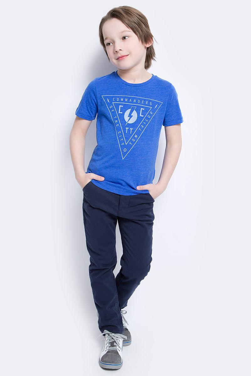 Футболка для мальчика Tom Tailor, цвет: синий. 1034583.40.82_6962. Размер 92/981034583.40.82_6962Футболка выполнена из высококачественного материала. Модель с короткими рукавами и круглым вырезом горловины. Оформлена оригинальным принтом.