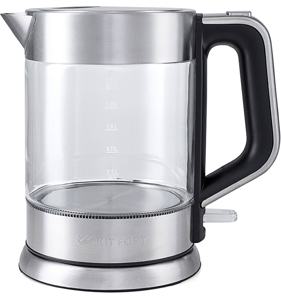 Kitfort КТ-617 чайник электрическийКТ-617Электрический чайник Kitfort КТ-617 предназначен для кипячения воды дома, в офисах и на дачах. Мощность чайника позволяет использовать его в домах со слабой проводкой. В носик чайника встроен фильтр.Корпус чайника Kitfort КТ-617 выполнен из стекла, а крышка и подставка — из сочетания пластмассы и нержавеющей стали. Мерная шкала нанесена на прозрачную часть корпуса. Большое горлышко чайника облегчает доступ внутрь при мытье и во время удаления накипи. Ручка чайника пластиковая, не нагревается и удобно лежит в руке.Кнопка открывания крышки расположена сверху на ручке, а кнопка включения — внизу. При включении чайника загорается синяя подсветка, которая является индикатором работы и одновременно художественно подсвечивает кипящую воду.Нагревательный элемент (ТЭН) у этой модели чайника скрытый и находится в дне. Сверху он закрыт специальной металлической пластиной из нержавеющей стали, благодаря которой исключается прямой контакт ТЭНа с водой. Такая конструкция препятствует образованию накипи, облегчает уход и значительно снижает шум при нагревании воды.Подставка с центральным контактом дает возможность ставить чайник на нее в любом положении, обеспечивая вращение на 360°. Снизу имеется отсек для хранения шнура, в который можно смотать излишки шнура электропитания, чтобы он не мешался на столе. Ножки подставки противоскользящие.Чайник автоматически отключается при закипании и при снятии с подставки, имеет защиту от перегрева и от включения без воды.