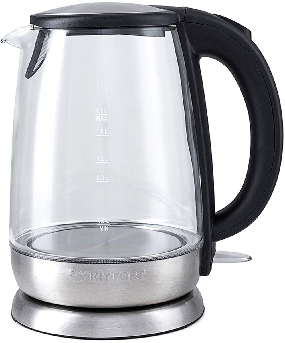 Kitfort КТ-619 чайник электрическийКТ-619Электрический чайник Kitfort КТ-619 предназначен для кипячения воды дома, в офисах и на дачах. Мощностьчайника позволяет использовать его в домах со слабой проводкой. В носик чайника встроен фильтр.Корпус чайника Kitfort КТ-619 выполнен из стекла, а крышка и подставка — из сочетания пластмассы инержавеющей стали. Мерная шкала нанесена на прозрачную часть корпуса. Большое горлышко чайника облегчаетдоступ внутрь при мытье и во время удаления накипи. Ручка чайника пластиковая, не нагревается и удобно лежитв руке.Кнопка открывания крышки расположена сверху на ручке, а кнопка включения — внизу. При включении чайниказагорается синяя подсветка, которая является индикатором работы и одновременно художественноподсвечивает кипящую воду.Нагревательный элемент (ТЭН) у этой модели чайника скрытый и находится в дне. Сверху он закрыт специальнойметаллической пластиной из нержавеющей стали, благодаря которой исключается прямой контакт ТЭНа с водой.Такая конструкция препятствует образованию накипи, облегчает уход и значительно снижает шум принагревании воды.Подставка с центральным контактом дает возможность ставить чайник на нее в любом положении, обеспечиваявращение на 360°C. Снизу имеется отсек для хранения шнура, в который можно смотать излишки шнураэлектропитания, чтобы он не мешался на столе. Ножки подставки противоскользящие.Чайник автоматически отключается при закипании и при снятии с подставки, имеет защиту от перегрева и отвключения без воды.