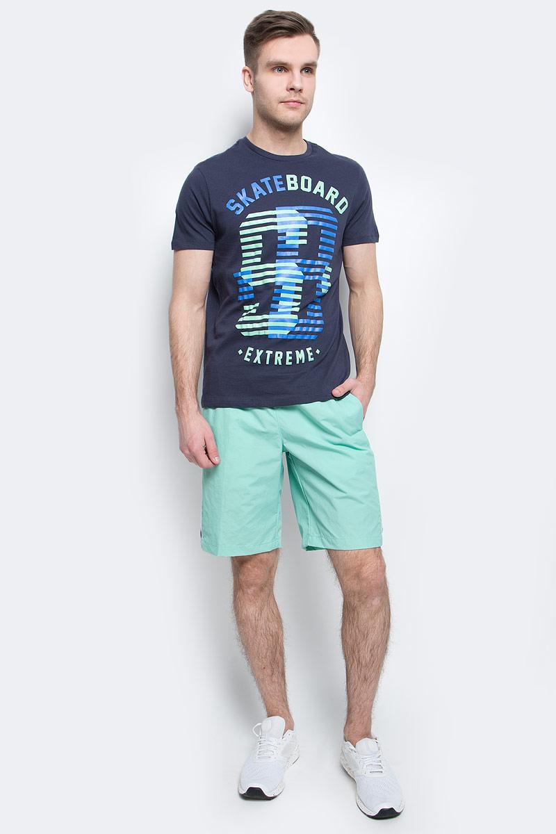 Шорты пляжные мужские Sela, цвет: пыльно-морской. SHsp-2415/004-7214. Размер XS (44)