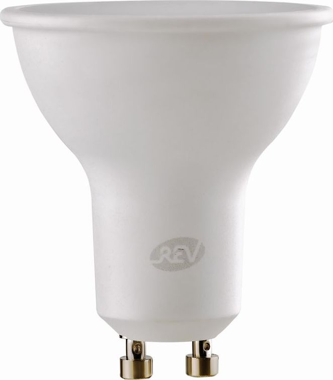 """Энергосберегающая светодиодная лампа """"REV"""" используется как в бытовых осветительных приборах, так и для освещения общественных и служебных помещений. Потребляемая мощность энергосберегающих ламп в 5-10 раз ниже, чем у обычных ламп накаливания при той же интенсивности свечения. Тип лампы: LED.Цоколь: GU10.Потребляемая мощность: 7 Вт.Световой поток: 600 Лм.Цветовая температура: 3000 K.Номинальное напряжение: 220-240 В.Свечение: теплый свет.Диаметр: 5 см.Высота: 5 см.Срок службы: 30000 часов."""