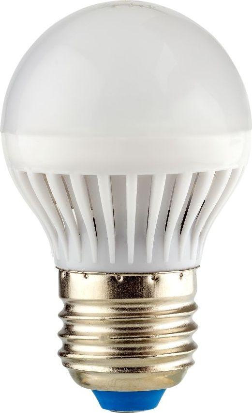 Лампа светодиодная REV, холодный свет, цоколь E27, 7W. 32343 332343 3Энергосберегающая светодиодная лампа REV используется как в бытовых осветительных приборах, так и для освещения общественных и служебных помещений. Потребляемая мощность энергосберегающих ламп в 5-10 раз ниже, чем у обычных ламп накаливания при той же интенсивности свечения. Энергосберегающая светодиодная лампа шаровидной формы холодного свечения. Интенсивность свечения аналогична обычной лампе накаливания мощностью 60 Вт. Срок службы 30 000 часов. Номинальное напряжение 220-240 В.